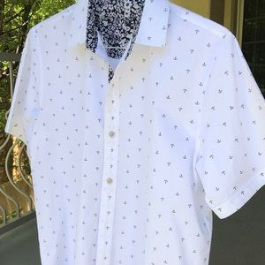 Other - Men's white short sleeve button down with anchors
